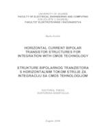 prikaz prve stranice dokumenta Horizontal Current Bipolar Transistor Structures for Integration with CMOS Technology