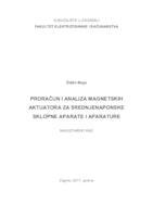 prikaz prve stranice dokumenta Proračun i analiza magnetskih aktuatora za srednjenaponske sklopne aparate i aprature