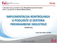 prikaz prve stranice dokumenta Implementacija kontrolinga u poduzeće iz sektora prehrambene industrije