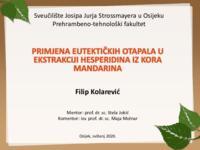 prikaz prve stranice dokumenta Primjena eutektičkih otapala u ekstrakciji hesperidina iz kora mandarina