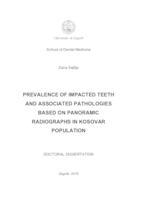 prikaz prve stranice dokumenta Učestalost impaktiranih zuba i pridruženih patoloških promjena analizom ortopantomograma u kosovskoga stanovništva